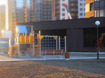 Полузаглубленный паркинг и детская игровая площадка